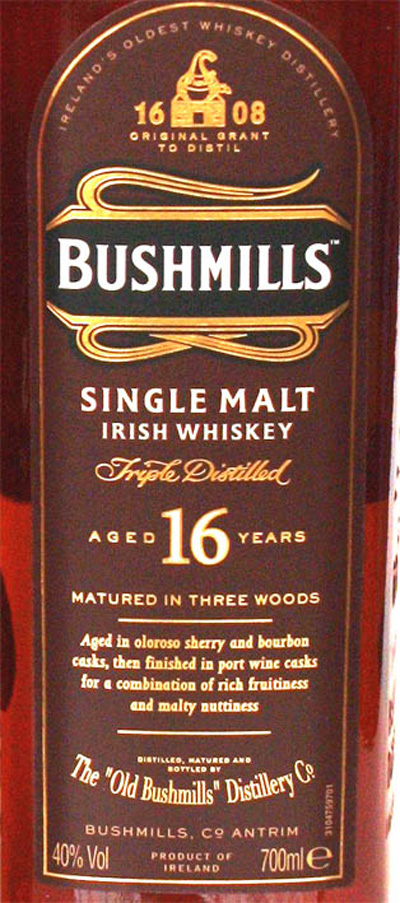 Отзыв о виски Bushmills 16 y.o. 1 liter