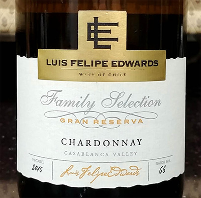 Отзыв о вине Luis Felipe Edwards Chardonnay family selection Gran Reserva 2016