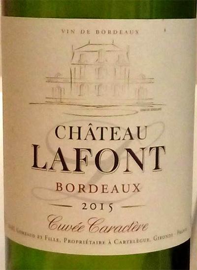 Отзыв о вине Chateau Lafont cuvee caractere 2015