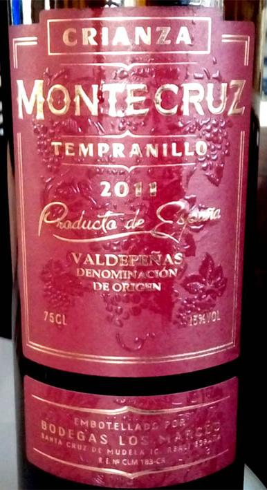 Отзыв о вине Montecruz crianza tempranillo 2011