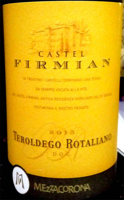 Отзыв о вине Castel Firmian teroldego rotaliano 2015