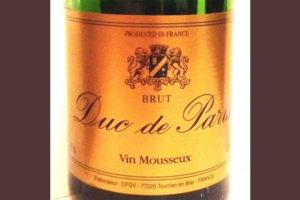 Отзыв об игристом вине Duc de Paris brut 2016
