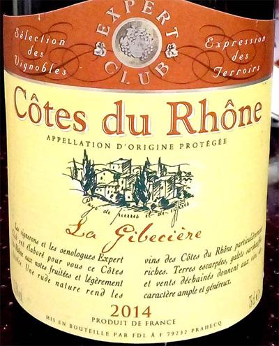 Отзыв о вине La Gibeciere Expert Club Cotrs du Rhone 2014