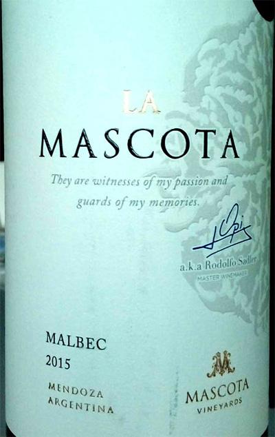 Отзыв о вине La Mascota malbec 2015