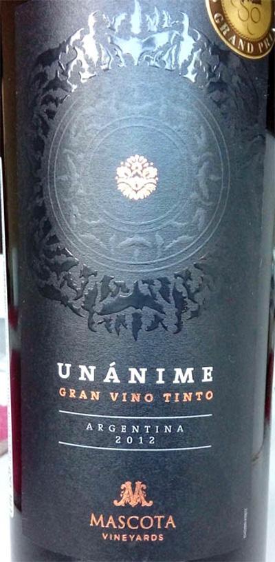 Отзыв о вине Unanime gran vino tinto Mascota 2012