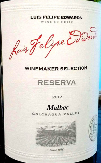 Отзыв о вине Luis Felipe Edwards malbec reserva winemaker selection 2012