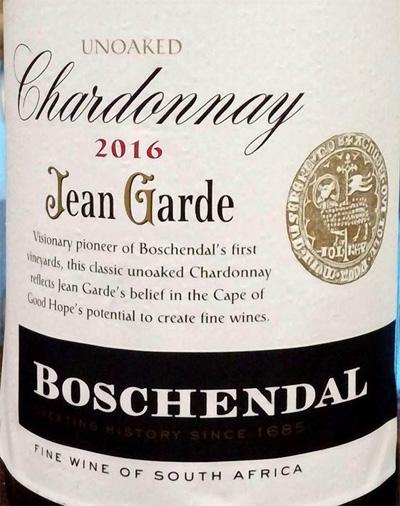 Отзыв о вине Unoaked chardonnay Jean Garde Boschendal 2016