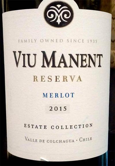 Отзыв о вине Viu Manent merlot reserva estate collection 2015