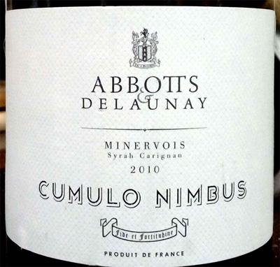 Отзыв о вине Abbotts & Delaunay Cumulo Nimbus 2010