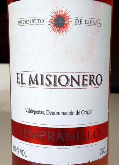 Отзыв о вине El Misionero Tempranillo 2015