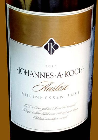 Отзыв о вине Johannes A Koch Auslese 2015