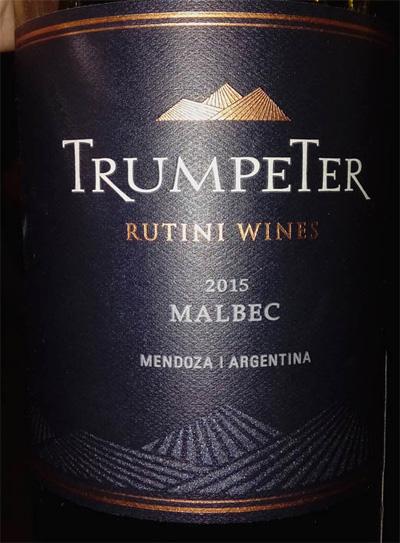 Отзыв о вине Trumpeter Malbec Rutini wines 2015