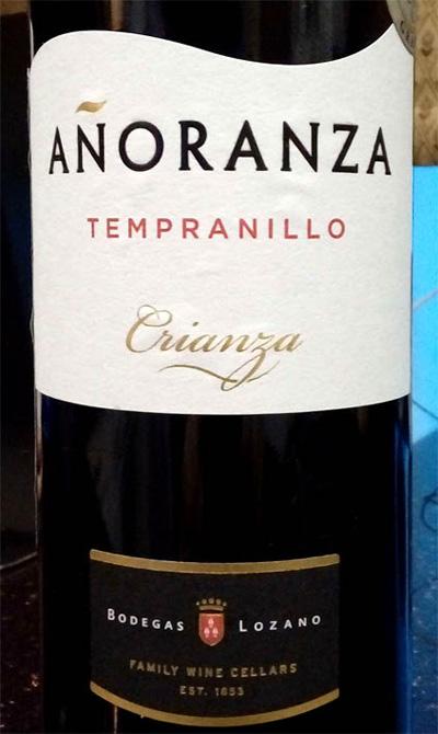 Отзыв о вине Anoranza Tempranillo crianza 2013