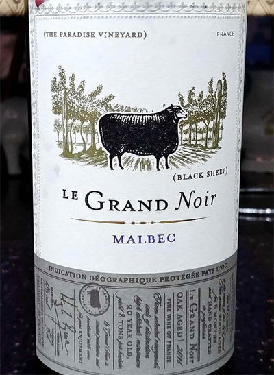 Отзыв о вине Le Grand Noir Malbec (black sheep) 2016