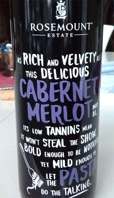 Отзыв о вине Rosemount Meal Matcher Cabernet Merlot 2015