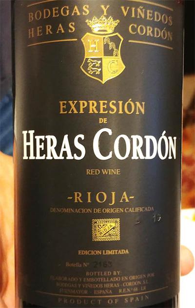 Отзыв о вине Expresion de Heras Cordon 2010
