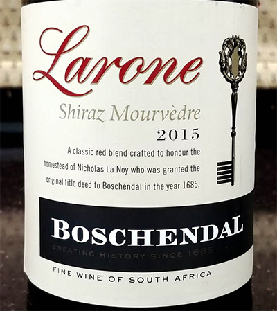 Отзыв о вине Boschendal Larone shiraz mourvedre 2015