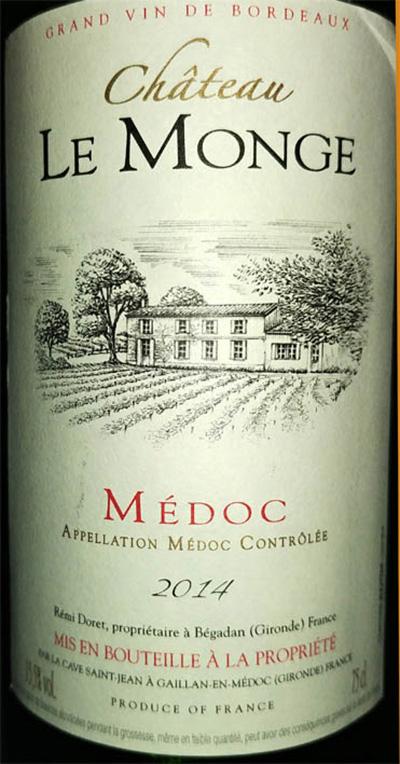 Отзыв о вине Chateau Le Monge Medoc 2014