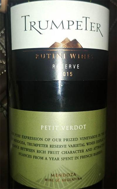 Отзыв о вине Trumpeter Rutini wines petit verdot reserve 2015