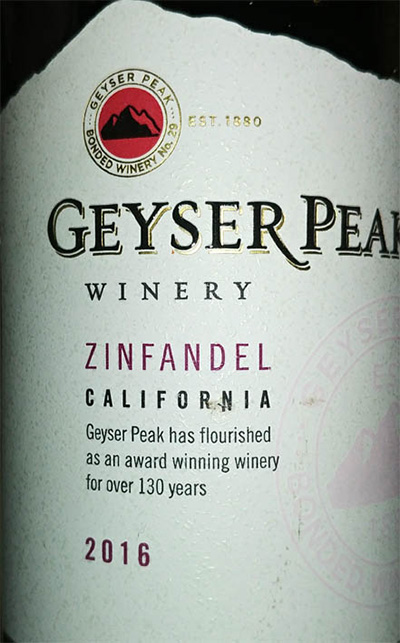 Отзыв о вине Geyser Peak winery zinfandel 2016