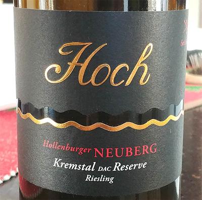 Отзыв о вине Hoch Reserve Riesling Kremstal dac 2013