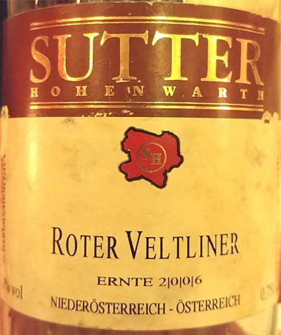 Отзыв о вине Sutter Hohenwarth Roter Veltliner 2006