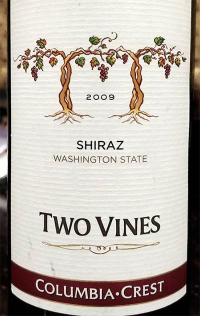 Отзыв о вине Two Vines shiraz Columbia Crest 2009