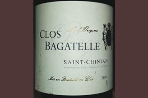 Отзыв о вине A l'Origine Clos Bagatelle rouge Saint-Chinian 2014
