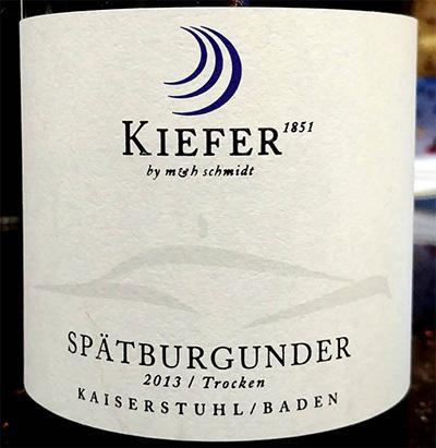 Отзыв о вине Kiefer spatburgunder trocken 2013