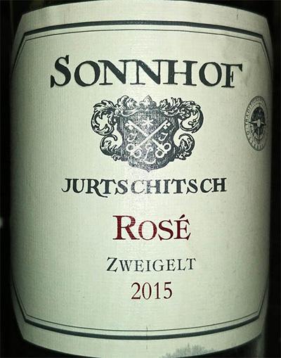 Отзыв о вине Sonnhof Jurtschitsch rose zweigelt 2015