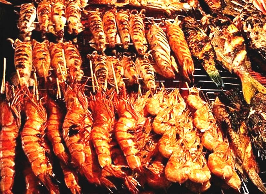 Креветки, кальмары на мангале