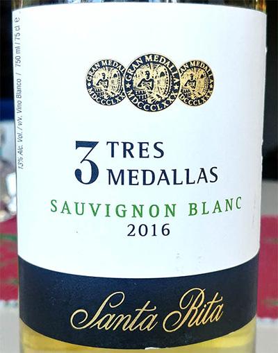 Отзыв о вине 3 Tres Medallas sauvignon blanc Santa Rita 2016