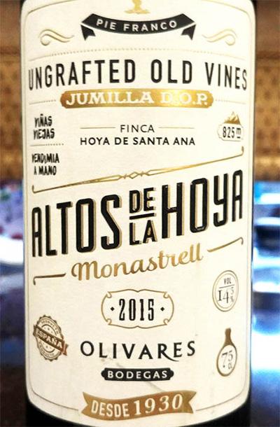Отзыв о вине Altos de la Hoya monastrell Olivares bodega 2015