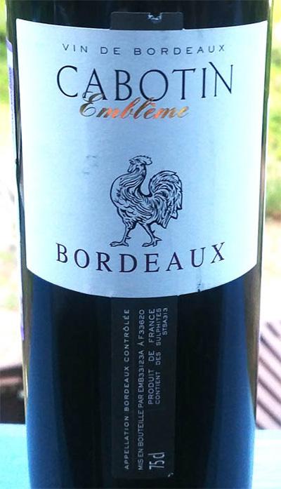 Отзыв о вине Cabotin Embleme bordeaux 2015