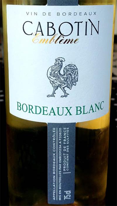 Отзыв о вине Cabotin Embleme bordeaux blanc 2016