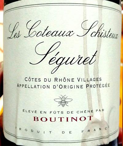Отзыв о вине Les Coteaux Schisteux Seguret Boutinot 2014