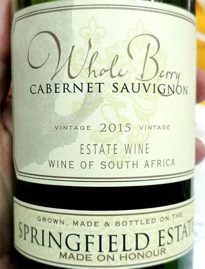 Отзыв о вине Whole Berry Cabernet Sauvignon Springfield Estate 2015