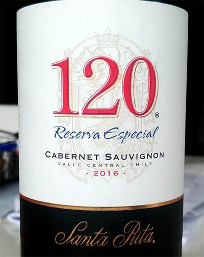 Отзыв о вине 120 Santa Rita Cabernet Sauvignon reserva especial 2016
