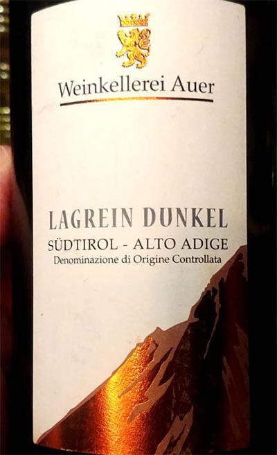 Отзыв о вине Weinkellerei Auer Lagrein Dunkel 2013