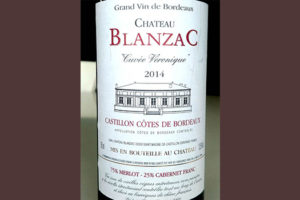 Отзыв о вине Chateau Blanzac cuvee vironique grand vin de Bordeaux 2014