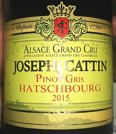 Отзыв о вине Joseph Cattin Pinot Gris Alsace Grand cru 2015