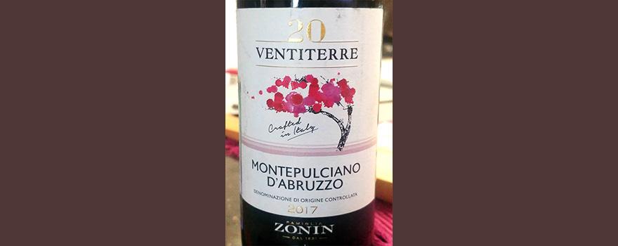 Отзыв о вине Zonin 20 Ventiterre Montepulciano d'Abruzzo 2017