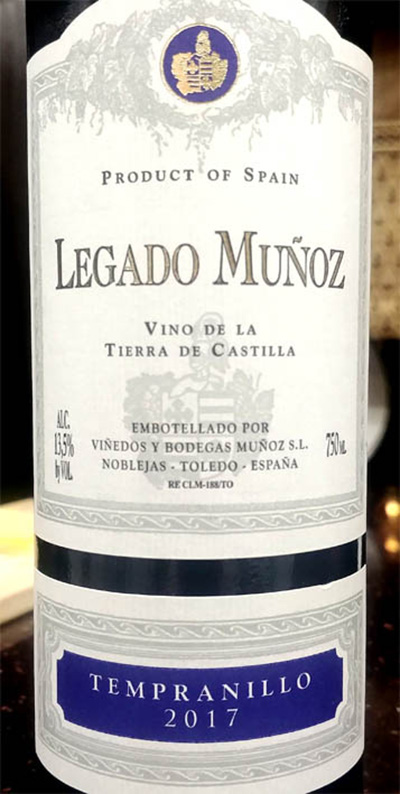 Отзыв о вине Legado Munoz Tempranillo 2017