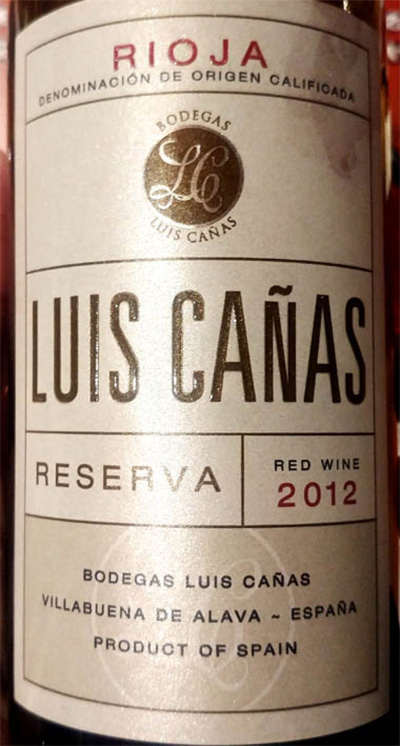 Отзыв о вине Luis Canas reserva red wine 2012