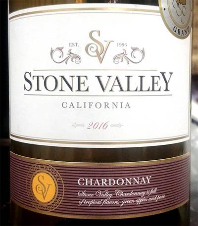 Отзыв о вине Stone Valley Chardonnay 2016