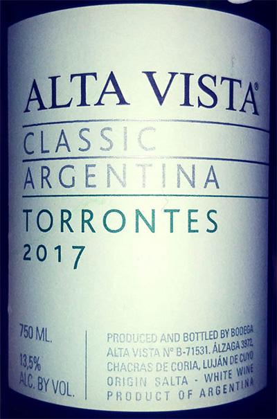 Отзыв о вине Alta Vista Torrontes classic 2017
