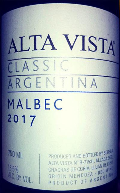 Отзыв о вине Alta Vista classic Malbec 2017