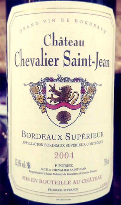 Отзыв о вине Chateau Chevalier Saint-Jean Bordeaux Superior 2004