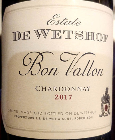 Отзыв о вине Estate de Wetshof Bon Vallon Chardonnay 2017
