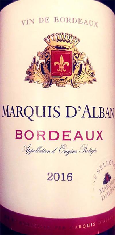 Отзыв о вине Marquis d'Alba Bordeaux 2016